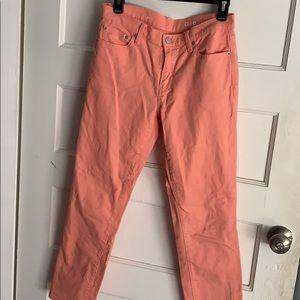 Gap. Salmon boyfriend cut. Cropped jeans